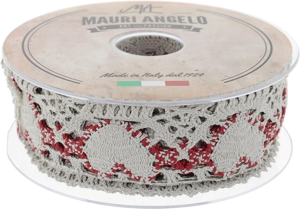 Лента кружевная Mauri Angelo, цвет: бежевый, красный, 5,4 см х 10 м