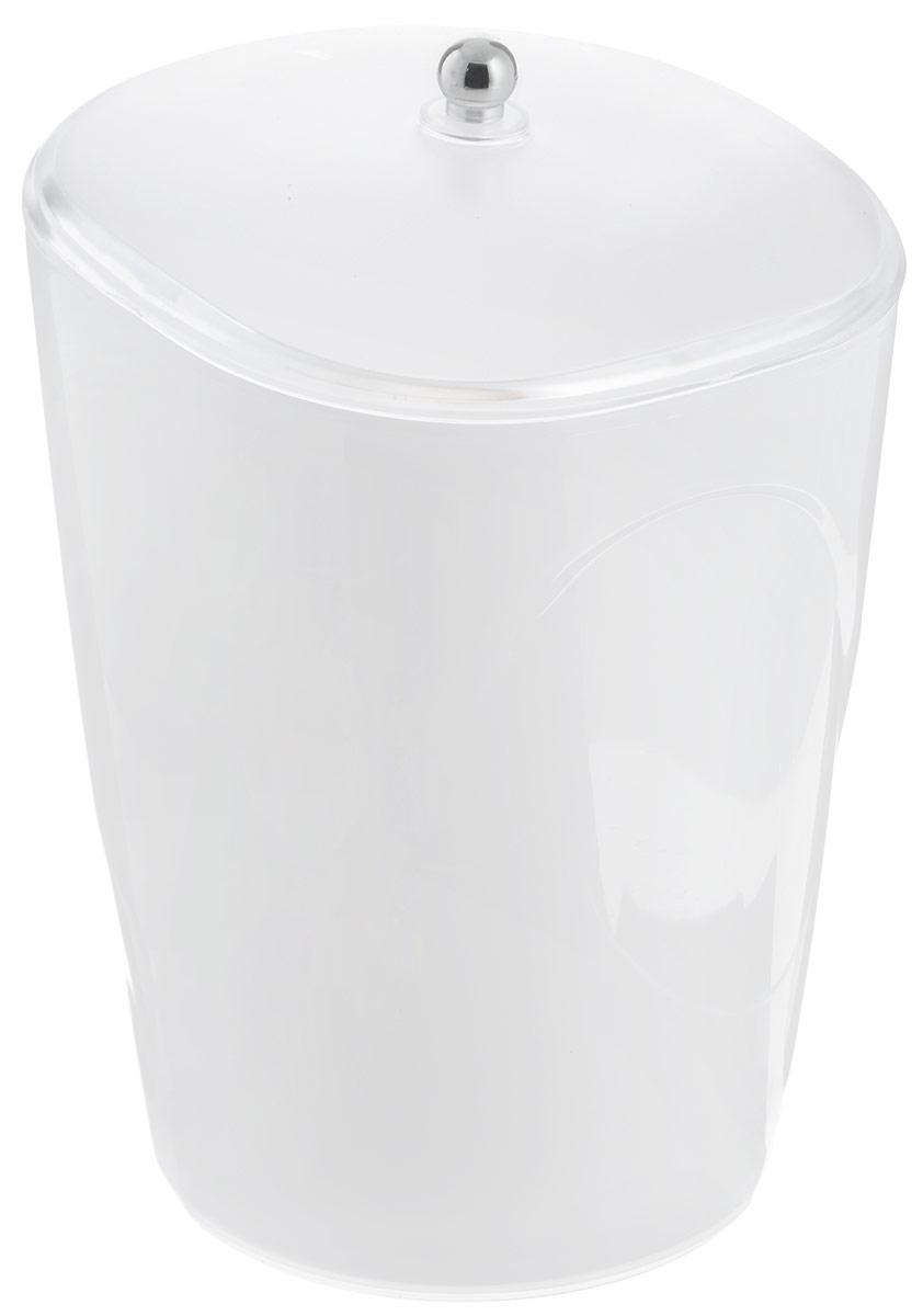 Ведро для мусора Indecor, с крышкой, цвет: белый, 5 л ведро эмалированное кмк с крышкой с поддоном 10 л