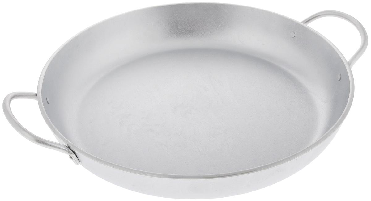 """Сковорода """"Kukmara"""" изготовлена из литого алюминия. Она идеально подходит для жарки мяса, запекания, тушения овощей, еда в такой посуде не пригорает, а томится как в русской печи. Толстостенная сковорода обеспечивает быстрое и равномерное распределение тепла по всей поверхности. Сковорода экологически безопасная и не подвергается деформации. Такая сковорода понравится как любителю, так и профессионалу. Сковорода подходит для газовых и электрических плит. Диаметр сковороды по верхнему краю: 34 см. Высота стенки: 5,5 см."""