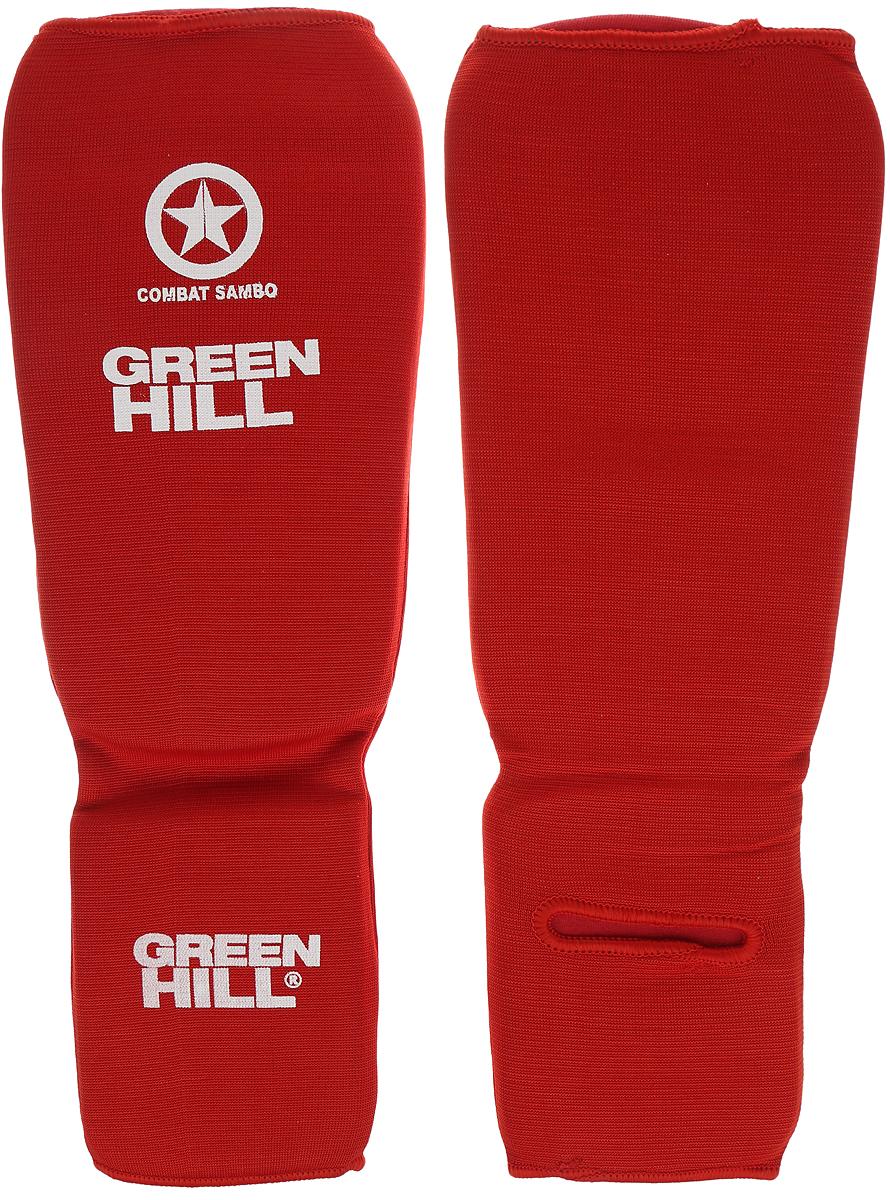 Защита голени и стопы Green Hill Combat Sambo, цвет: красный, белый. Размер S. SC-61311