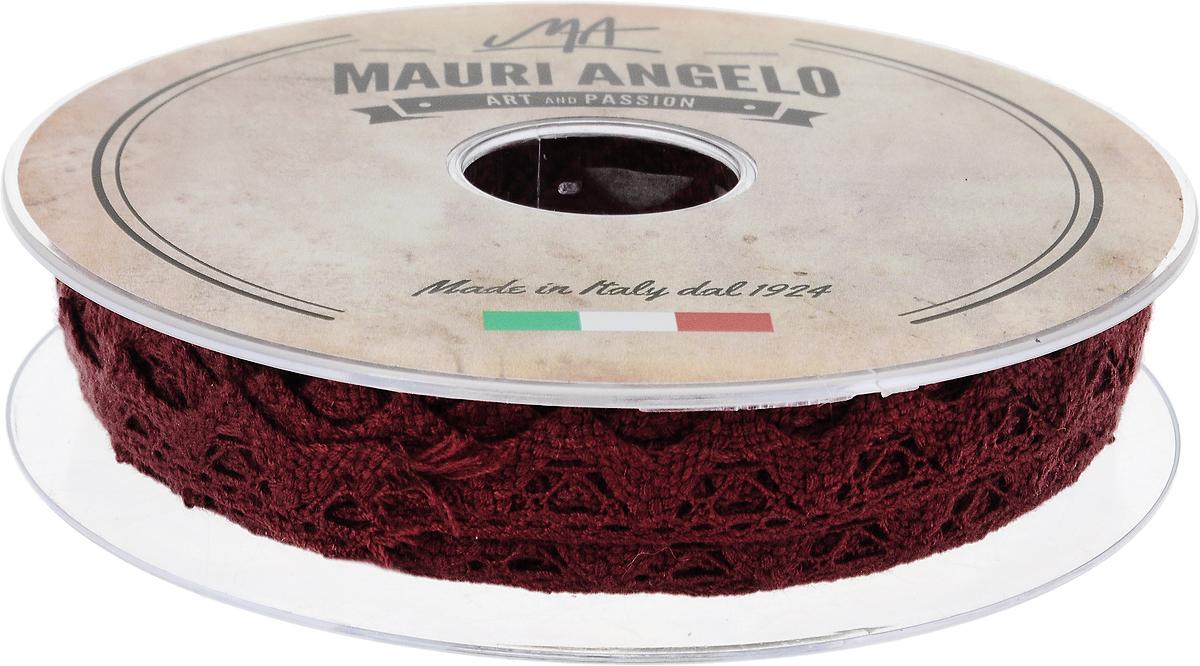 Лента кружевная Mauri Angelo, цвет: бордовый, 1,8 см х 20 мMR2710/PL/8144_бордовыйДекоративная кружевная лента Mauri Angelo - текстильное изделие без тканой основы, в котором ажурный орнамент и изображения образуются в результате переплетения нитей. Кружево применяется для отделки одежды, белья в виде окаймления или вставок, а также в оформлении интерьера, декоративных панно, скатертей, тюлей, покрывал. Главные особенности кружева - воздушность, тонкость, эластичность, узорность.Декоративная кружевная лента Mauri Angelo станет незаменимым элементом в создании рукотворного шедевра. Ширина: 1,8 см.Длина: 20 м.