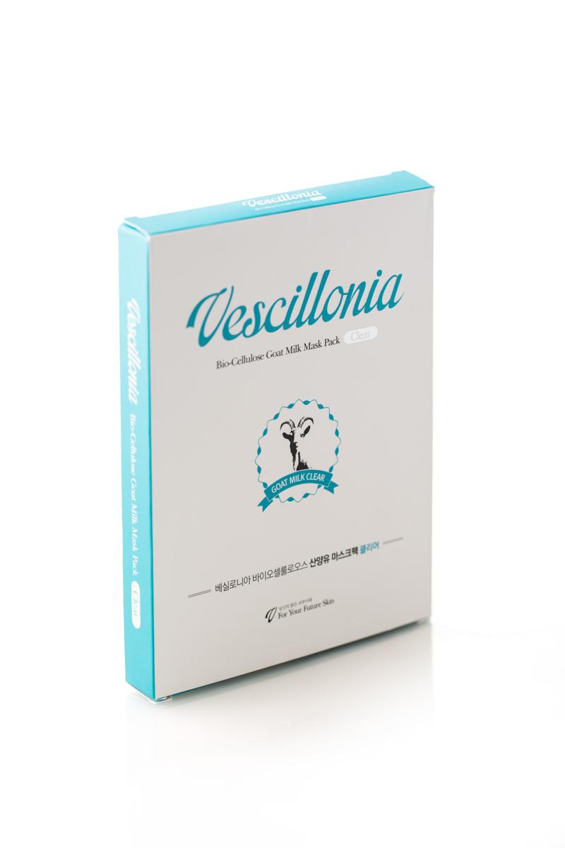 Маска для лица Vescillonia Bio-Cellulose Goat Milk Mask (Clear), 3 шт косметические маски vescillonia маска для лица с экстрактом миндаля vescillonia enrich facial mask 5 шт