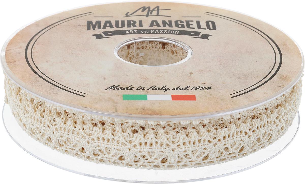 Лента кружевная Mauri Angelo, цвет: бежевый, 1,8 см х 20 м. MR1038/1/EMR1038/1/E_бежевыйДекоративная кружевная лента Mauri Angelo - текстильное изделие без тканой основы, в котором ажурный орнамент и изображения образуются в результате переплетения нитей. Кружево применяется для отделки одежды, белья в виде окаймления или вставок, а также в оформлении интерьера, декоративных панно, скатертей, тюлей, покрывал. Главные особенности кружева - воздушность, тонкость, эластичность, узорность.Декоративная кружевная лента Mauri Angelo станет незаменимым элементом в создании рукотворного шедевра. Ширина: 1,8 см.Длина: 20 м.