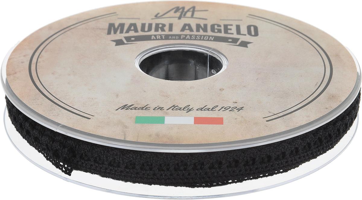 Лента кружевная Mauri Angelo, цвет: черный, 0,9 см х 20 мMR1096/009Декоративная кружевная лента Mauri Angelo выполнена из высококачественного хлопка. Кружево применяется для отделки одежды, постельного белья, а также в оформлении интерьера, декоративных панно, скатертей, тюлей, покрывал. Главные особенности кружева - воздушность, тонкость, эластичность, узорность.Такая лента станет незаменимым элементом в создании рукотворного шедевра.