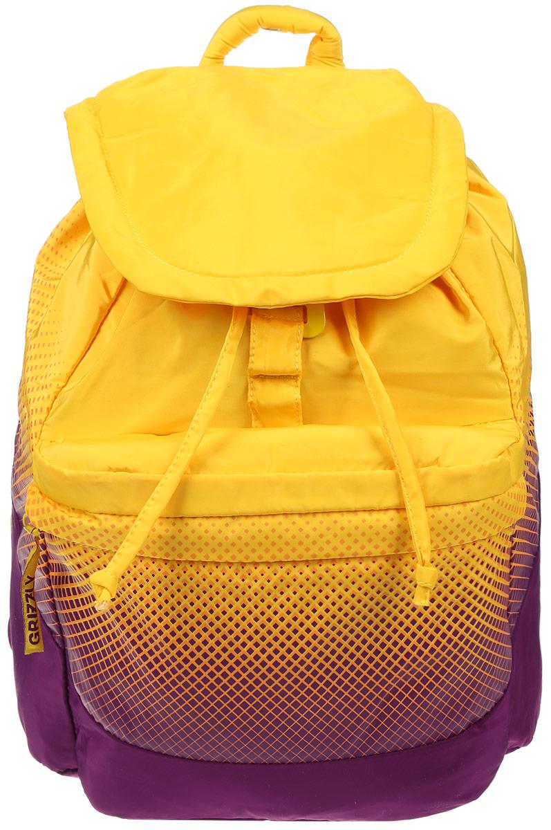 Рюкзак городской женский Grizzly, цвет: желтый, пурпурный, 22 л. RD-748-1/1RD-748-1/1Рюкзак городской Grizzl выполнен из высококачественного полиэстера, который не пропускает воду. Изделие оформлено оригинальным принтом. На лицевой стороне расположен объемный накладной карман на молнии. На тыльной стороне расположен вшитый карман на молнии. Рюкзак оснащен петлей для подвешивания и двумя удобными лямками, длина которых регулируется с помощью пряжек. Изделие закрывается клапаном на металлический крючок. Внутри расположено главное отделение, закрывающееся с помощью затягивающегося шнурка. Главное отделение содержит один открытый накладной карман и карман на молнии для мелочей.