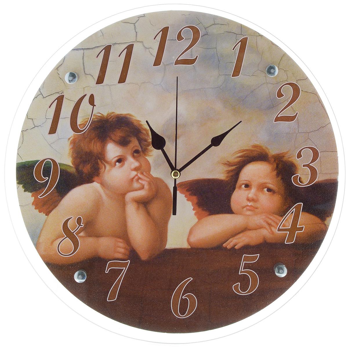 Часы настенные Proffi Home Купидоны, диаметр 33 смВ892Настенные кварцевые часы Proffi Home Купидоны, изготовленные из ДВП и стекла, прекрасно подойдут под интерьер вашего дома. Круглые часы имеют три стрелки: часовую, минутную и секундную. Часы оснащены металлической планкой для подвешивания. Диаметр часов: 33 см.Часы работают от 1 батарейки типа АА напряжением 1,5 В. Батарейка в комплект не входит.