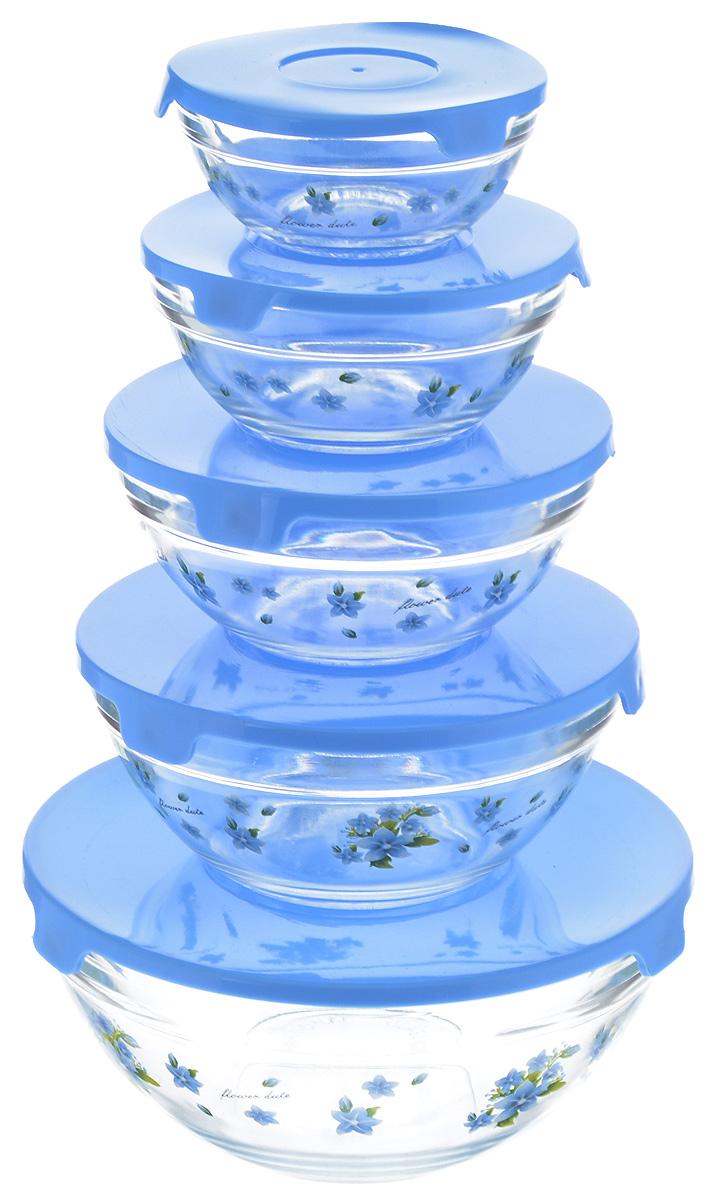 Набор салатников Loraine, с крышками, цвет: прозрачный, голубой, 5 штAVSARN22031Набор Loraine, состоящий из пяти салатниц разного объема с плотно закрывающимисякрышками, сочетает в себе изысканный дизайн с максимальной функциональностью. Салатницывыполнены из высококачественного стекла и оформлены цветочным рисунком. Такой наборпрекрасно подходит для хранения продуктов и соусов без проливания. Можно мыть в посудомоечной машине. Объем салатниц: 150 мл, 250 мл, 420 мл, 600 мл, 1,1 л. Диаметр салатниц (по верхнему краю): 9 см, 10,5 см, 12,5 см, 14 см, 17 см. Высота стенок салатниц: 4 см, 5 см, 5,5 см, 6,5 см, 8 см.
