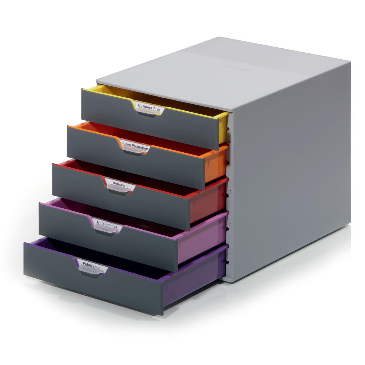 Короб для документов Durable Varicolor. 7605-277605-27Короб для документов Durable Varicolor выполнен из высококачественного пластика. Выдвижные ящики закрытого типа оснащены стопорами и табуляторами для маркировки. Боксы можно устанавливать друг на друга, фиксируются при помощи резиновых ножек.