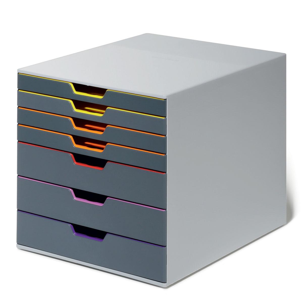 """Короб для документов Durable """"Varicolor"""" выполнен из высококачественного пластика. Выдвижные ящики закрытого типа, оснащены стопорами и табуляторами для маркировки. Боксы можно устанавливать друг на друга, фиксируются при помощи резиновых ножек."""