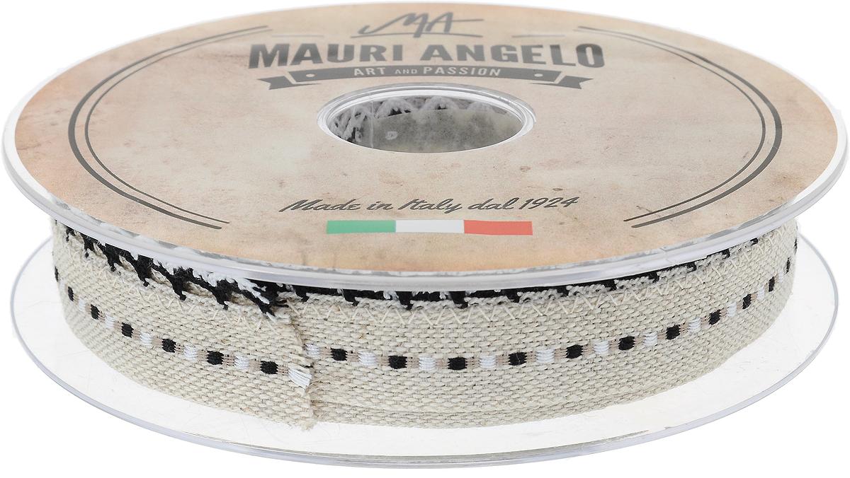 Лента декоративная Mauri Angelo, цвет: бежевый, черный, белый, 2,4 см х 10 мMR720ZTRA/5Декоративная лента Mauri Angelo - текстильное изделие без тканой основы. Одна сторона декорирована кружевами. Лента применяется для отделки одежды, белья в виде окаймления или вставок, а также в оформлении интерьера, декоративных панно, скатертей, тюлей, покрывал.Декоративная лента Mauri Angelo станет незаменимым элементом в создании рукотворного шедевра.