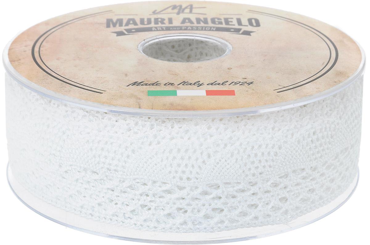 Лента кружевная Mauri Angelo, цвет: белый, 3,4 см х 20 мMR3104Декоративная кружевная лента Mauri Angelo выполнена из высококачественного хлопка. Кружево применяется для отделки одежды, постельного белья, а также в оформлении интерьера, декоративных панно, скатертей, тюлей, покрывал. Главные особенности кружева - воздушность, тонкость, эластичность, узорность.Такая лента станет незаменимым элементом в создании рукотворного шедевра.