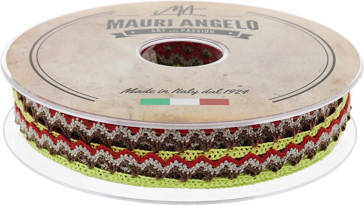 Лента кружевная Mauri Angelo, цвет: салатовый, коричневый, красный, 1,45 см х 20 мMR1451/PL/8Декоративная кружевная лента Mauri Angelo выполнена из высококачественного полиэстера. Кружево применяется для отделки одежды, постельного белья, а также в оформлении интерьера, декоративных панно, скатертей, тюлей, покрывал. Главные особенности кружева - воздушность, тонкость, эластичность, узорность.Такая лента станет незаменимым элементом в создании рукотворного шедевра.