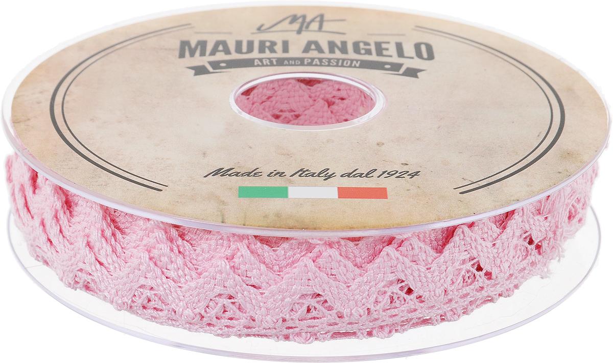Лента кружевная Mauri Angelo, цвет: розовый, 1,8 см х 20 мMR2710/015_розовыйДекоративная кружевная лента Mauri Angelo - текстильное изделие без тканой основы, в котором ажурный орнамент и изображения образуются в результате переплетения нитей. Кружево применяется для отделки одежды, белья в виде окаймления или вставок, а также в оформлении интерьера, декоративных панно, скатертей, тюлей, покрывал. Главные особенности кружева - воздушность, тонкость, эластичность, узорность.Декоративная кружевная лента Mauri Angelo станет незаменимым элементом в создании рукотворного шедевра. Ширина: 1,8 см.Длина: 20 м.