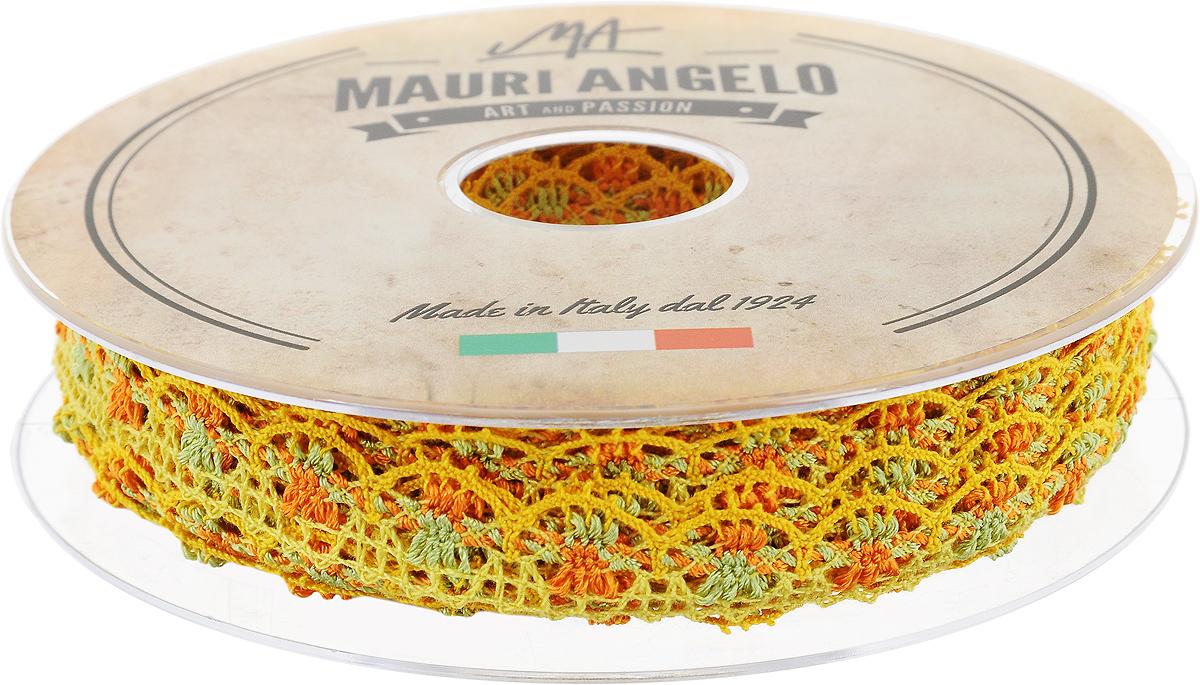 Лента кружевная Mauri Angelo, цвет: оранжевый, желтый, зеленый, 1,8 см х 20 м. MR8849/MC/2MR8849/MC/2_оранжевый, желтый, зеленыйДекоративная кружевная лента Mauri Angelo - текстильное изделие без тканой основы, в котором ажурный орнамент и изображения образуются в результате переплетения нитей. Кружево применяется для отделки одежды, белья в виде окаймления или вставок, а также в оформлении интерьера, декоративных панно, скатертей, тюлей, покрывал. Главные особенности кружева - воздушность, тонкость, эластичность, узорность.Декоративная кружевная лента Mauri Angelo станет незаменимым элементом в создании рукотворного шедевра. Ширина: 1,8 см.Длина: 20 м.
