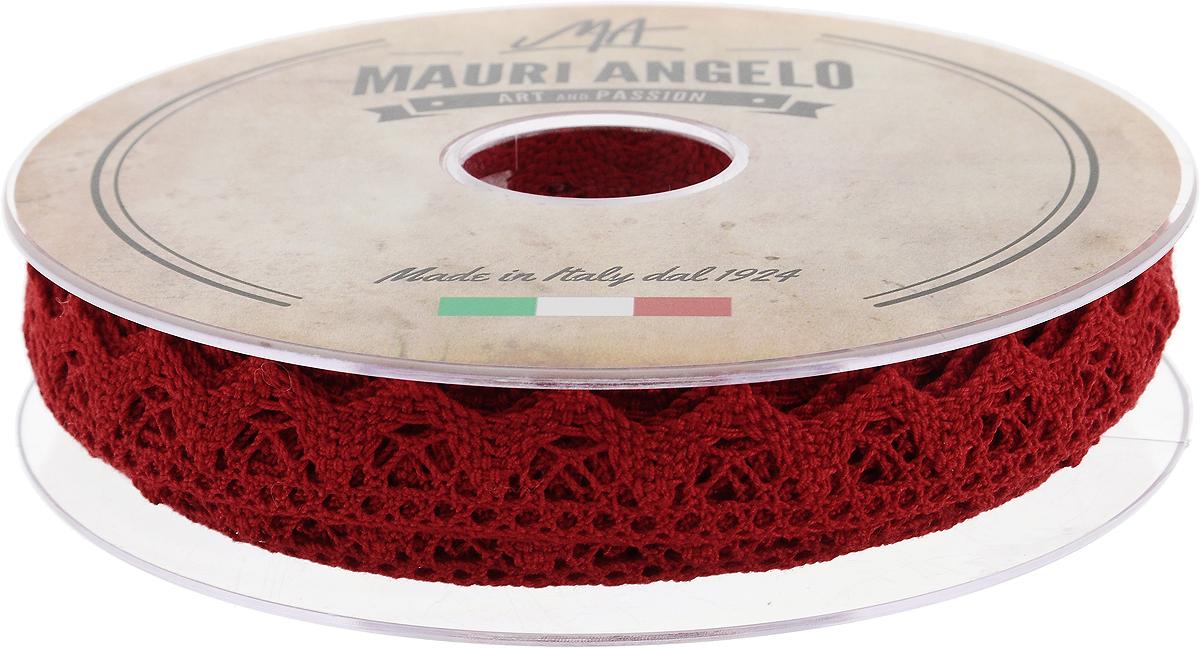 Лента кружевная Mauri Angelo, цвет: красный, 1,8 см х 20 мMR2710/019_красныйДекоративная кружевная лента Mauri Angelo - текстильное изделие без тканой основы, в котором ажурный орнамент и изображения образуются в результате переплетения нитей. Кружево применяется для отделки одежды, белья в виде окаймления или вставок, а также в оформлении интерьера, декоративных панно, скатертей, тюлей, покрывал. Главные особенности кружева - воздушность, тонкость, эластичность, узорность.Декоративная кружевная лента Mauri Angelo станет незаменимым элементом в создании рукотворного шедевра. Ширина: 1,8 см.Длина: 20 м.