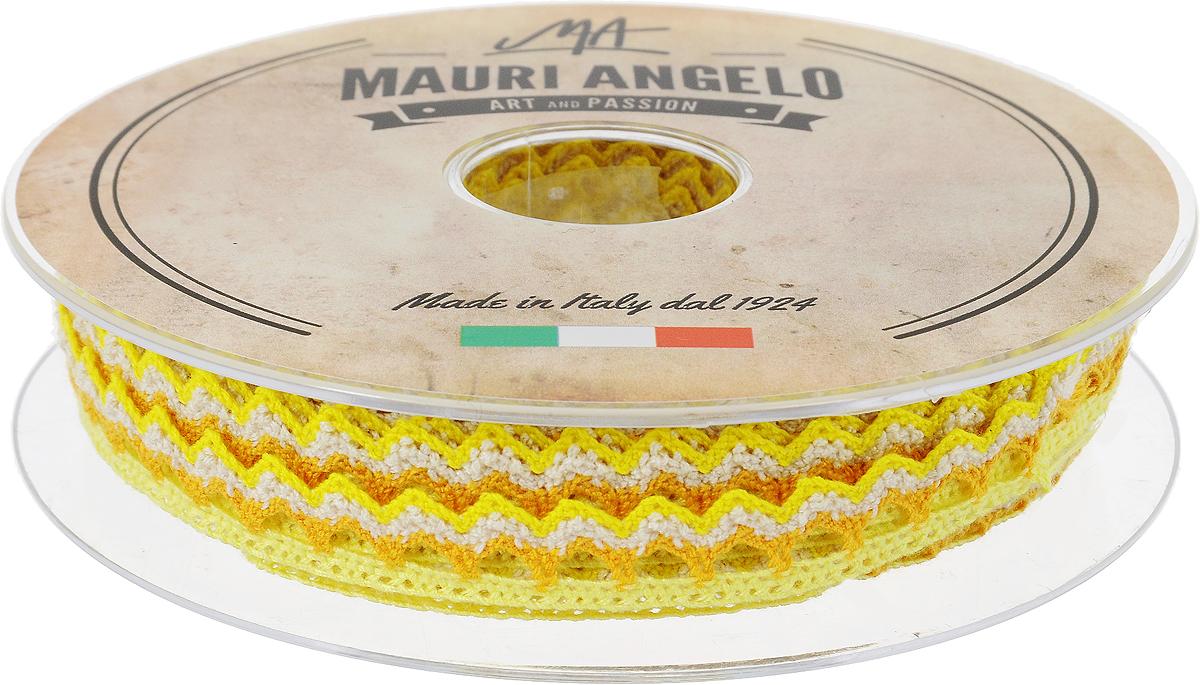 Лента кружевная Mauri Angelo, цвет: желтый, оранжевый, 1,45 см х 20 мMR1451/PL/17_желтый, оранжевыйДекоративная кружевная лента Mauri Angelo - текстильное изделие без тканой основы, в котором ажурный орнамент и изображения образуются в результате переплетения нитей. Кружево применяется для отделки одежды, белья в виде окаймления или вставок, а также в оформлении интерьера, декоративных панно, скатертей, тюлей, покрывал. Главные особенности кружева - воздушность, тонкость, эластичность, узорность.Декоративная кружевная лента Mauri Angelo станет незаменимым элементом в создании рукотворного шедевра. Ширина: 1,45 см.Длина: 20 м.