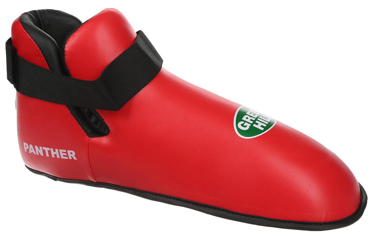 Футы Green Hill Panther, цвет: красный, черный. Размер XXL. KBSP-3076KBSP-3076/0080Футы Green Hill Panther применяются для занятий кикбоксингом. Выполнены из высококачественной искусственной кожи, наполнитель - вспененный полимер. Резинки на липучке в задней части футов обеспечивают лучшую фиксацию ноги.Длина стопы: 36 см. Ширина: 13 см.Размер ноги должен быть меньше на 1-1,5 см.