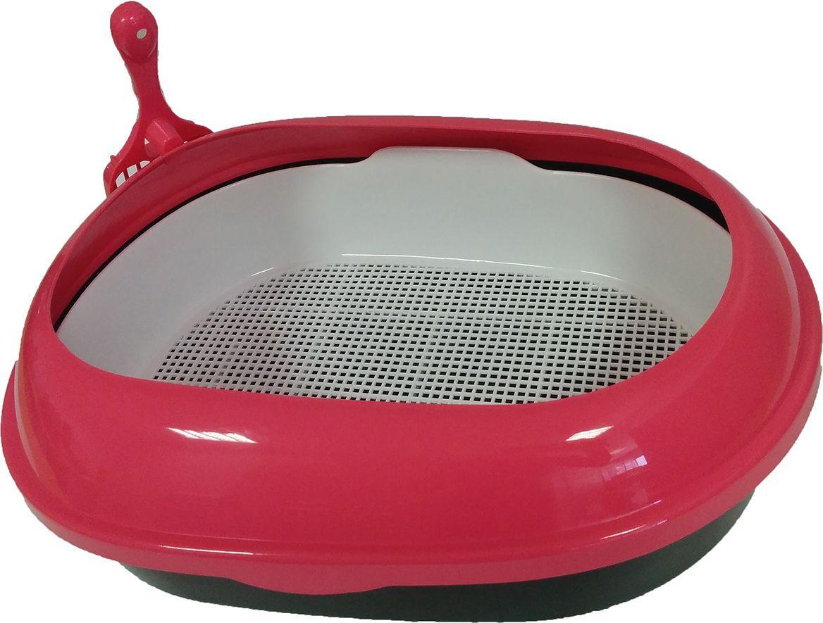 Туалет для кошек ВиСи Клозет, прямой, с решеткой и совком, цвет: розовый, 48 х 37 х 15 см какой лучше купить кошке туалет с решеткой или без решетки