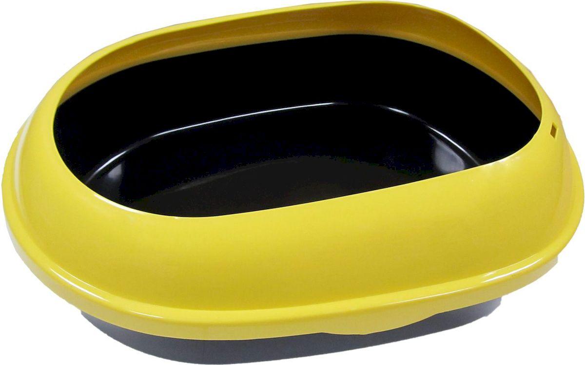 """Туалет для кошек """"ВиСи Клозет"""", прямой, открытый с бортом, цвет: желтый, 48 х 37 х 15 см"""
