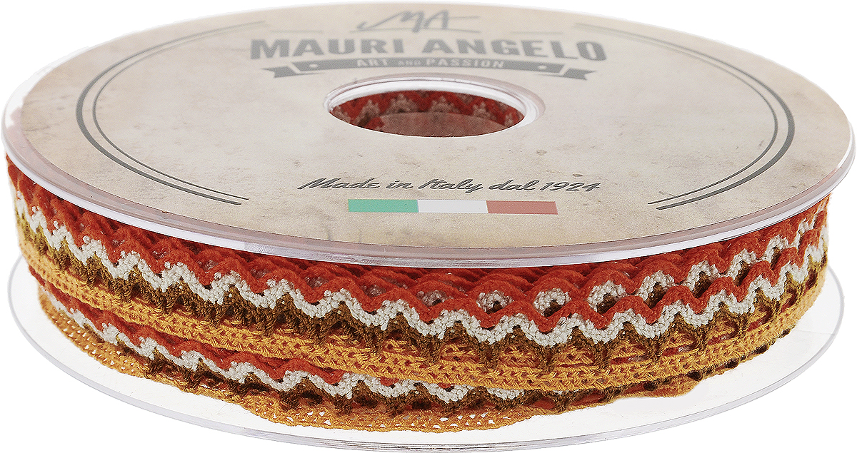 Лента кружевная Mauri Angelo, цвет: оранжевый, коричневый, 1,45 см х 20 мMR1451/PL/18_оранжевый, коричневыйДекоративная кружевная лента Mauri Angelo - текстильное изделие без тканой основы, в котором ажурный орнамент и изображения образуются в результате переплетения нитей. Кружево применяется для отделки одежды, белья в виде окаймления или вставок, а также в оформлении интерьера, декоративных панно, скатертей, тюлей, покрывал. Главные особенности кружева - воздушность, тонкость, эластичность, узорность.Декоративная кружевная лента Mauri Angelo станет незаменимым элементом в создании рукотворного шедевра. Ширина: 1,45 см.Длина: 20 м.