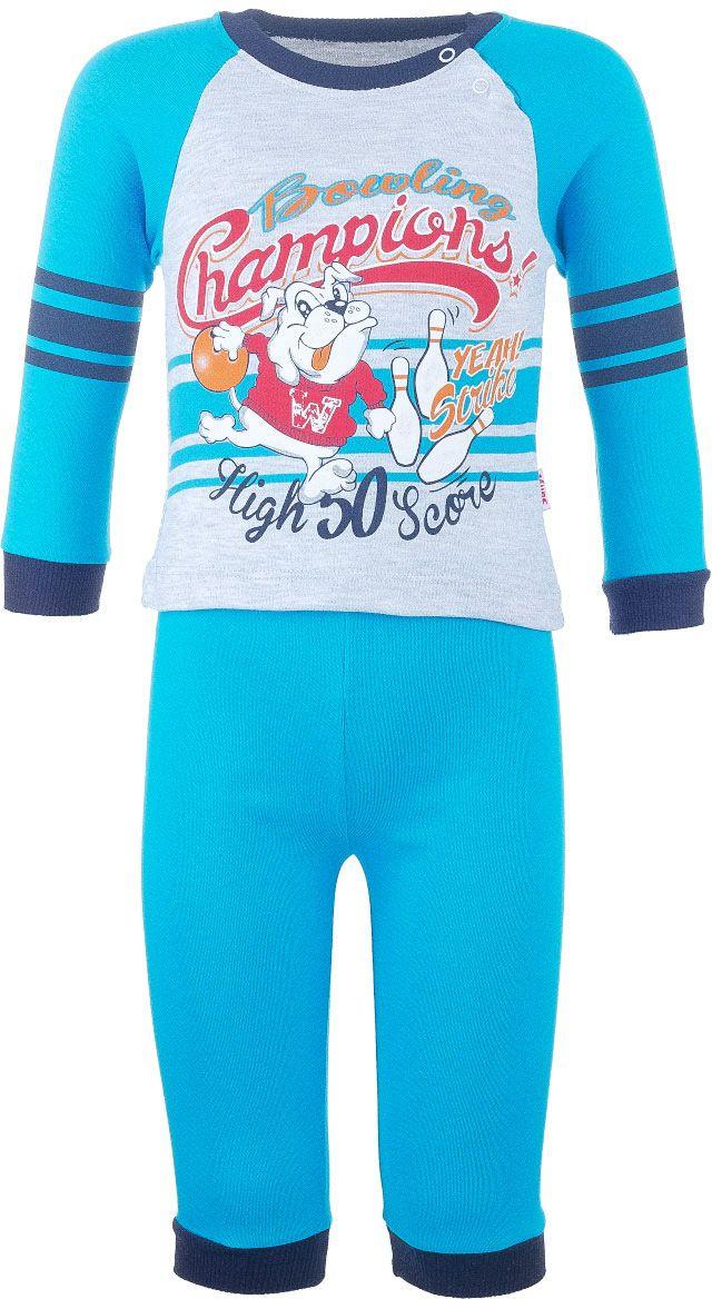 Комплект для мальчика Sally: футболка с длинным рукавом, штанишки, цвет: голубой, серый. 6865-28. Размер 746865-28Комплект одежды для мальчика Sally, состоящий из футболки с длинный рукавом и штанишек, станет отличным дополнением к детскому гардеробу. Комплект изготовлен из натурального хлопка, тактильно приятный, не раздражает нежную кожу ребенка и хорошо вентилируется, обеспечивая комфорт.Футболка с круглым вырезом горловины и длинными рукавами-реглан застегивается на кнопки по плечевому шву, что позволит легко переодеть малыша. Вырез горловины и манжеты рукавов дополнены трикотажной резинкой. Штанишки имеют на поясе мягкую эластичную резинку, благодаря чему они не сдавливают животик ребенка и не сползают. На брючинах предусмотрены манжеты. Оформлено изделие оригинальным принтом.
