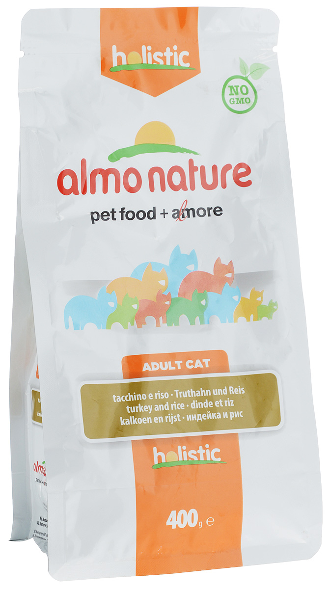 Корм сухой Almo Nature для взрослых кошек, с индейкой и рисом, 400 г корм сухой наша марка для привередливых кошек с лососем и рисом 400 г