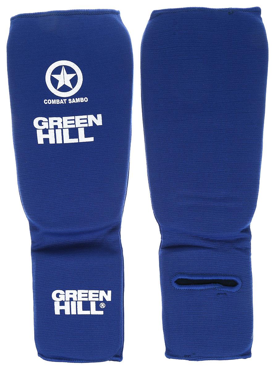 Защита голени и стопы Green Hill Combat Sambo, цвет: синий, белый. Размер S. SC-61312