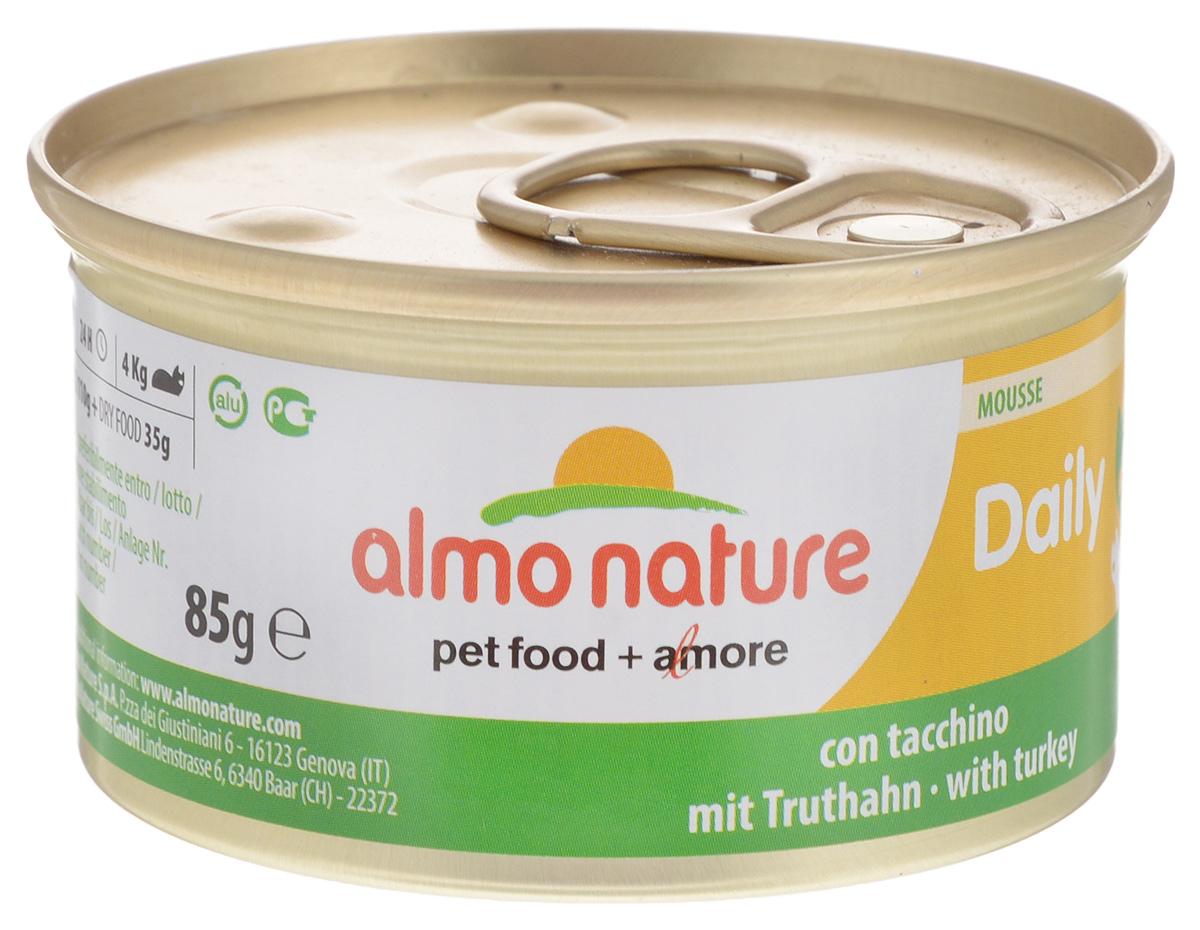 Консервы для кошек Almo Nature Daily Menu, с индейкой, 85 г корм для птиц vitakraft menu vital для волнистых попугаев основной 1кг