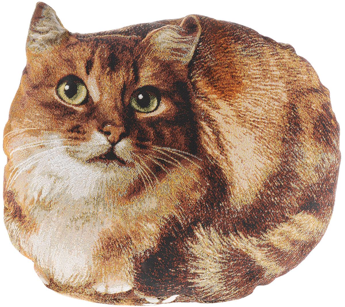 """Декоративная подушка Рапира """"Пушок"""" прекрасно  дополнит интерьер спальни или гостиной. Она выполнена  в форме кошки. Чехол подушки изготовлен с гобеленовой  фотопечатью из 50% хлопка и 50% полиэфира. Внутри -  мягкий наполнитель из холлофайбера. Чехол не  снимается.  Красивая подушка создаст атмосферу уюта и комфорта  в спальне и станет прекрасным элементом декора."""
