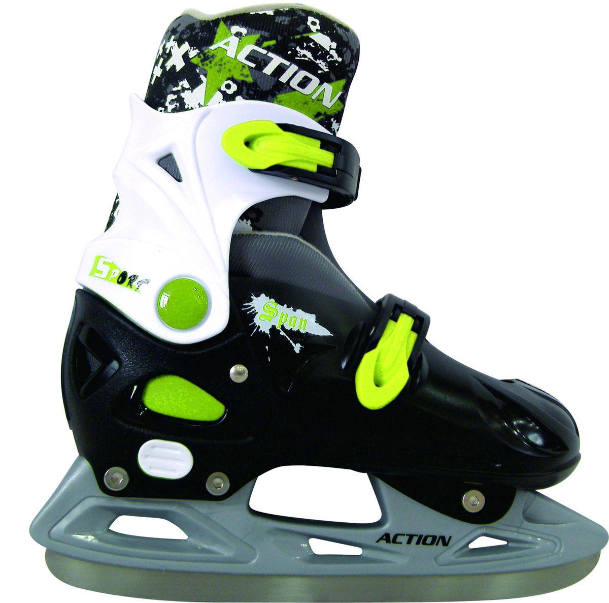 Коньки ледовые Action PW-333, раздвижные, цвет: черный, белый, зеленый. Размер 33/36PW-333Раздвижная конструкция ледовых коньков Action PW-333 пользуется огромной популярностью за счет того, что отпадает необходимость ежегодно покупать новую пару вслед за ростом ноги - ребенок может кататься на своих любимых коньках не один год. Конечно, это не означает, что такие модели предназначены исключительно для детей. Размерные сетки таких моделей позволяют приобретать эти коньки и взрослым.Тип: раздвижные.Материал ботинка: нейлон, армированный каркасом из жесткого полиуретана. Материал подкладки: синтетическая ткань.Тип фиксации: клипсы.Рама: интегрированная, материал – полиуретан.Лезвие: тип – хоккейное, материал – нержавеющая сталь.Защитное напыление: есть.Вид применения: любительское катание на льду.