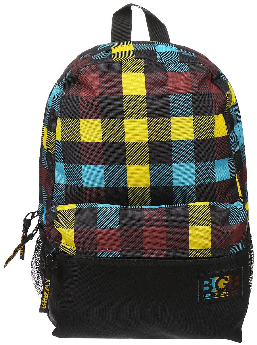 Рюкзак городской Grizzly, цвет: черный, желтый, коричневый, 16 л. RD-750-2/1