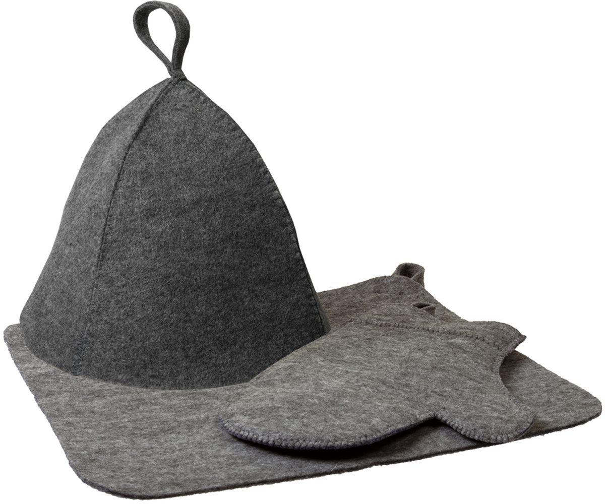 Набор для бани и сауны Нot Pot, цвет: серый, 3 предмета41184Набор для бани Нot Pot включает в себя шапку, коврик и рукавицу. Изделия выполнены из лавсана, предметы комплекта обладают великолепными гигроскопичными свойствами и защищают от высоких температур в парной. Оригинальный дизайн изделий добавит эстетики банным процедурам. Такой набор поможет с удовольствием и пользой провести время в бане, а также станет чудесным подарком друзьям и знакомым, которые по достоинству его оценят при первом же использовании.Рекомендуется стирка при температуре.Размер коврика: 40,5 х 35 см. Обхват головы: 78 см. Размер рукавицы: 29 х 22 см.