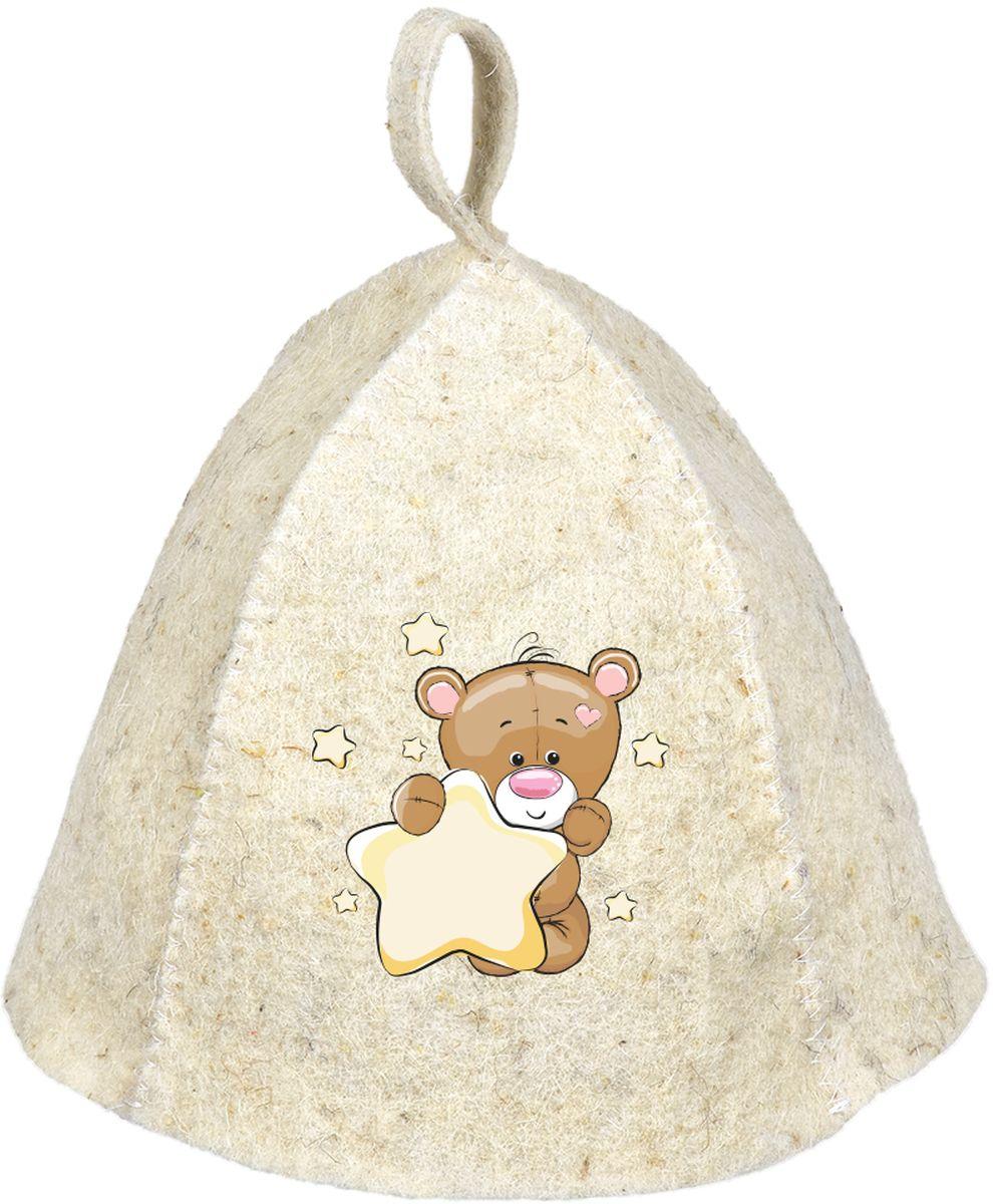 Шапка для бани и сауны Hot Pot Мишка, детская наборы аксессуаров для бани proffi набор подарочный для бани и сауны звезда веник березовый шапка банная