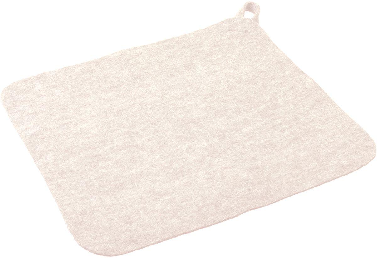 Коврик для бани и сауны Нot Pot, цвет: белый, 25,5 х 19,7 см41216Коврик для бани и сауны Нot Pot - великолепное приобретение для истинных любителей попариться. Этот аксессуар надежно защитит от горячих поверхностей полок или лавок в парной бани или сауне. Коврик выполнен из шерстяного материала - войлока, который отличается низкой теплопроводностью, что позволяет телу не перегреваться. Натуральный материал гигроскопичен, поэтому он хорошо впитывает влагу и позволяет находиться в сауне как можно дольше. Изделие имеет петельку для подвешивания, что позволит сэкономить место при хранении.