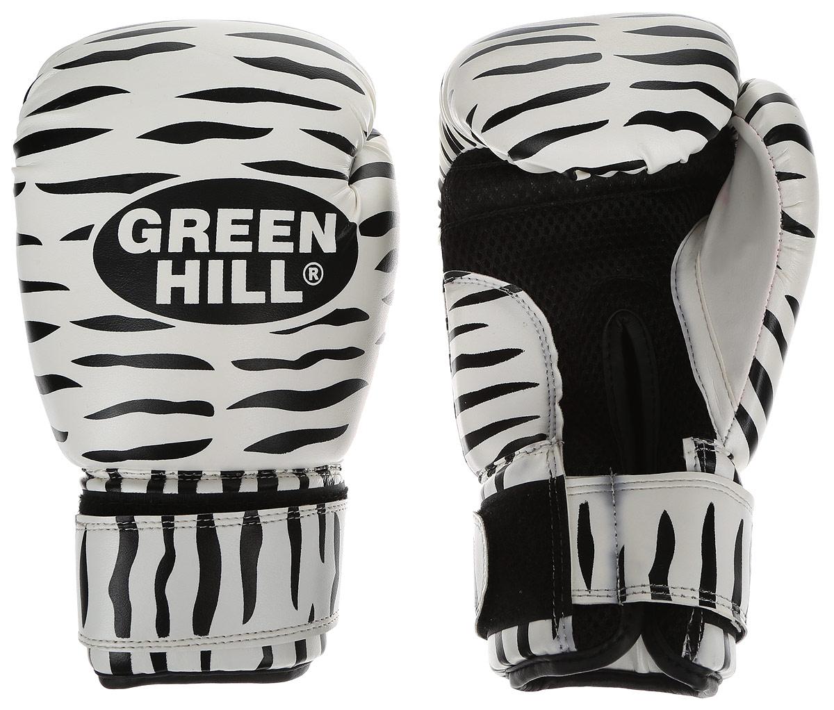 Перчатки боксерские Green Hill Zebra, цвет: черный, белый. Вес 10 унций. BGC-2041BGC-2041Боксерские перчатки Green Hill Zebra отлично подойдут для тренировок. Верх выполнен из искусственной кожи, наполнитель - из вспененного полимера. Сетка в области ладони позволяет создать максимально комфортный терморежим во время занятий. Длинный манжет на липучке способствует быстрому и удобному надеванию перчаток, плотно фиксирует их на руке.