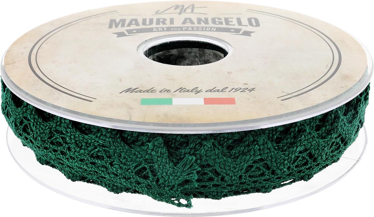 Лента кружевная Mauri Angelo, цвет: зеленый, 1,8 см х 20 мMR2710/050_зеленыйДекоративная кружевная лента Mauri Angelo - текстильное изделие без тканой основы, в котором ажурный орнамент и изображения образуются в результате переплетения нитей. Кружево применяется для отделки одежды, белья в виде окаймления или вставок, а также в оформлении интерьера, декоративных панно, скатертей, тюлей, покрывал. Главные особенности кружева - воздушность, тонкость, эластичность, узорность.Декоративная кружевная лента Mauri Angelo станет незаменимым элементом в создании рукотворного шедевра. Ширина: 1,8 см.Длина: 20 м.