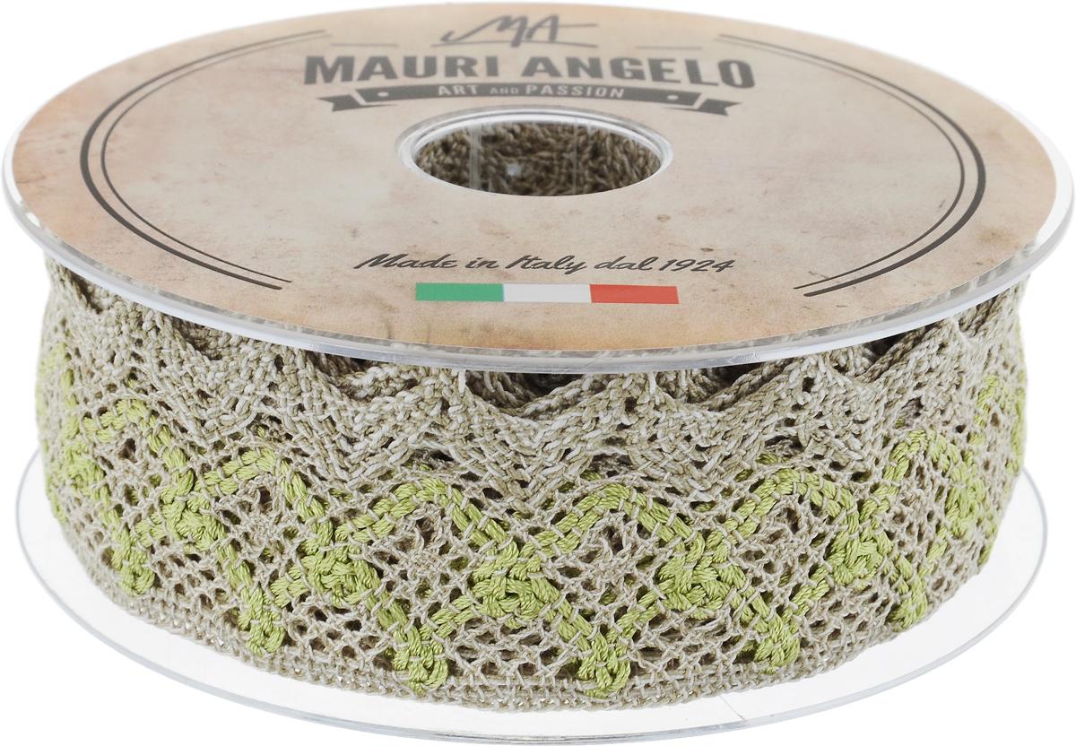 Лента кружевная Mauri Angelo, цвет: бежевый, светло-зеленый, белый, 5 см х 10 мMR3327/LI/5Декоративная кружевная лента Mauri Angelo выполнена из высококачественных материалов. Кружево применяется для отделки одежды, постельного белья, а также в оформлении интерьера, декоративных панно, скатертей, тюлей, покрывал. Главные особенности кружева - воздушность, тонкость, эластичность, узорность.Такая лента станет незаменимым элементом в создании рукотворного шедевра.