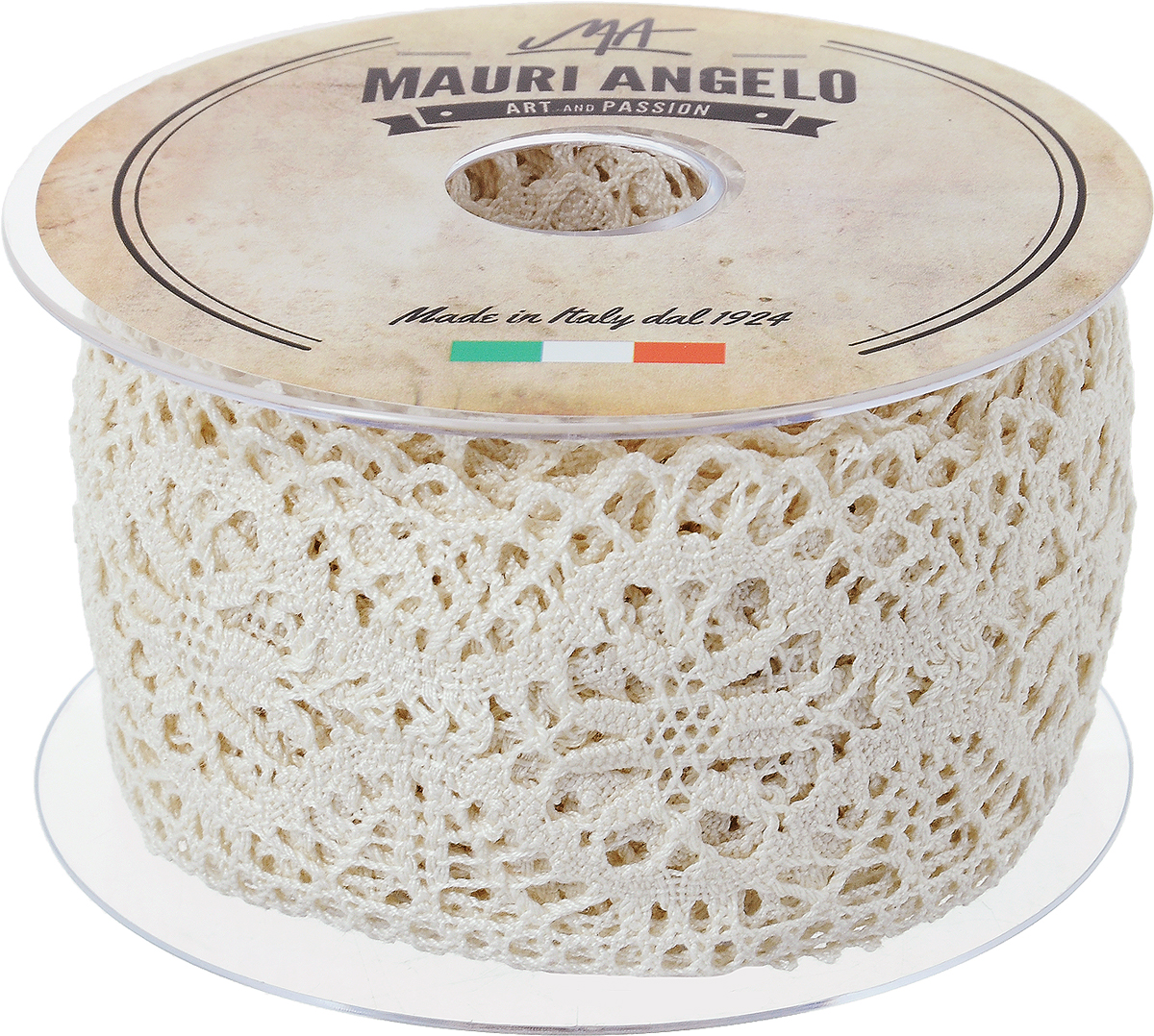Лента кружевная Mauri Angelo, цвет: бежевый, 6,3 см х 10 мMR5320/E_бежевыйДекоративная кружевная лента Mauri Angelo - текстильное изделие без тканой основы, в котором ажурный орнамент и изображения образуются в результате переплетения нитей. Кружево применяется для отделки одежды, белья в виде окаймления или вставок, а также в оформлении интерьера, декоративных панно, скатертей, тюлей, покрывал. Главные особенности кружева - воздушность, тонкость, эластичность, узорность.Декоративная кружевная лента Mauri Angelo станет незаменимым элементом в создании рукотворного шедевра. Ширина: 6,3 см.Длина: 10 м.