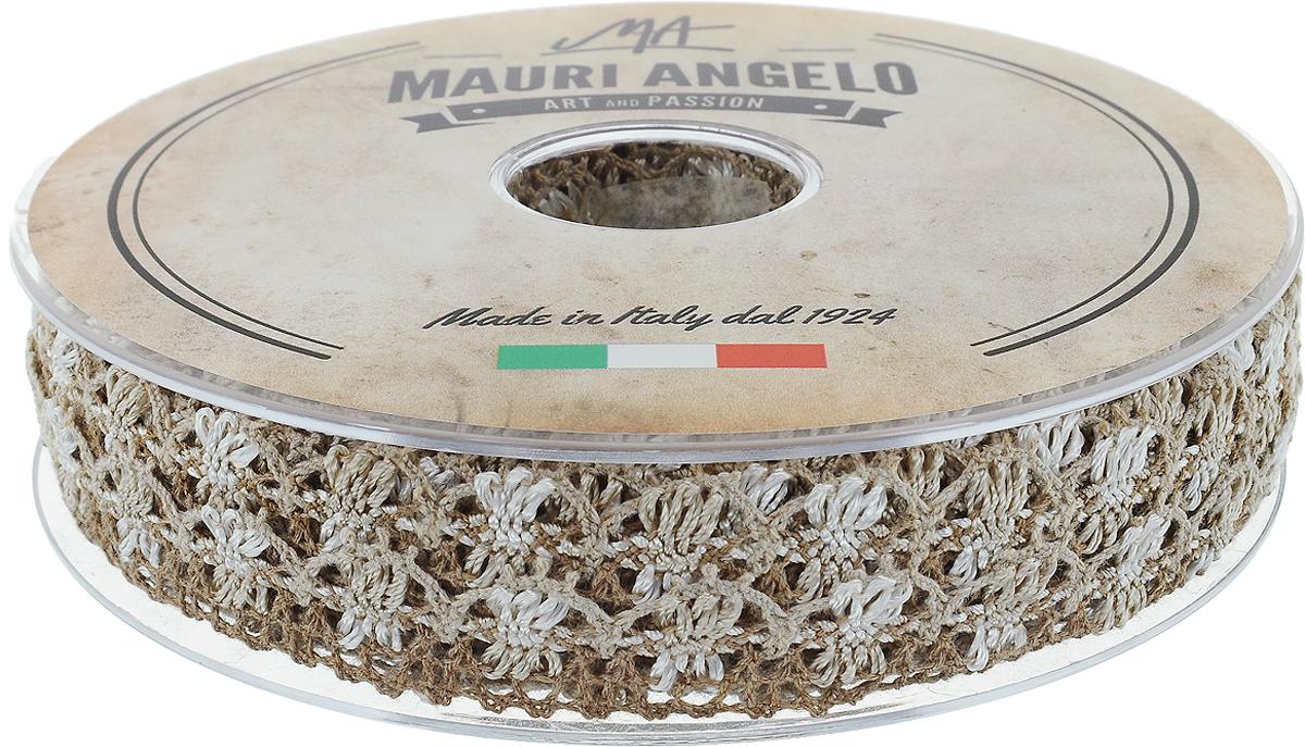 Лента кружевная Mauri Angelo, цвет: коричневый, серый, 1,8 см х 20 м. MR8849/MC/1MR8849/MC/1_коричневый, серыйДекоративная кружевная лента Mauri Angelo - текстильное изделие без тканой основы, в котором ажурный орнамент и изображения образуются в результате переплетения нитей. Кружево применяется для отделки одежды, белья в виде окаймления или вставок, а также в оформлении интерьера, декоративных панно, скатертей, тюлей, покрывал. Главные особенности кружева - воздушность, тонкость, эластичность, узорность.Декоративная кружевная лента Mauri Angelo станет незаменимым элементом в создании рукотворного шедевра. Ширина: 1,8 см.Длина: 20 м.