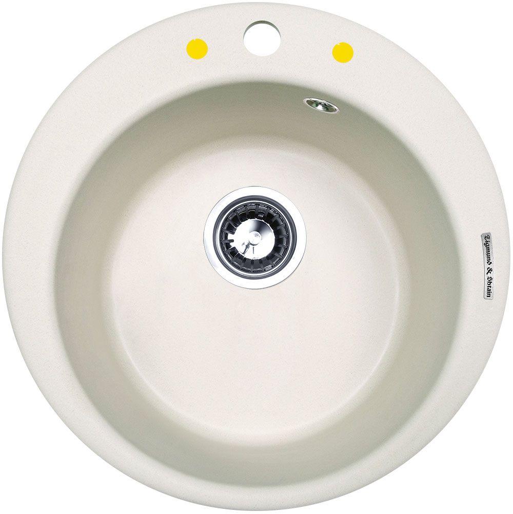 Мойка Zigmund & Shtain Kreis 480, врезная, цвет: индийская ваниль, диаметр 37 смkreis480Мойка для кухни Zigmund & Shtain с врезной установкой выполнена из искусственного гранита круглой формы. Врезная мойка монтируется в уже подогнанную под нее столешницу или тумбу. Своей верхней цельнометаллической кромкой она плотно прижимается к поверхности тумбы (столешницы). Модель Kreis 480 - является прекрасным решением для небольших кухонь. Круглая форма отлично впишется в любой интерьер. При небольших внешних габаритах, чаша мойки позволяет вымыть большую кастрюлю, или пару сковородок разом. В том числе вам не придется волноваться за плотность прилегания мойки к столешнице, в комплект входит крепежная арматура Hettich которая обеспечивает надежное крепление к поверхности, на протяжении всего срока службы. Благодаря особой системе производства, мойка не способна навредить здоровью человека.Для монтажа в комплекте предусмотрены качественные крепежи и дополнительные элементы. Общий размер: 48 х 48 см.Внутренний размер чаши: 37 см.Глубина чащи: 19 см.Ширина шкафа: 45 см.