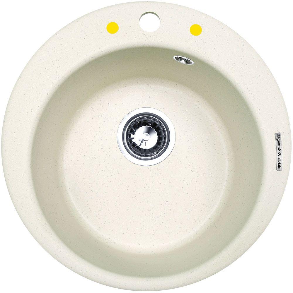 Мойка кухонная Zigmund & Shtain Kreis 480, врезная, 1 чаша, цвет: каменная сольkreis480Zigmund & Shtain KREIS 480, кухонная мойка, иск.гранит, 1чаша, форма круглая, глубина -21 см, ЦВЕТ каменная соль