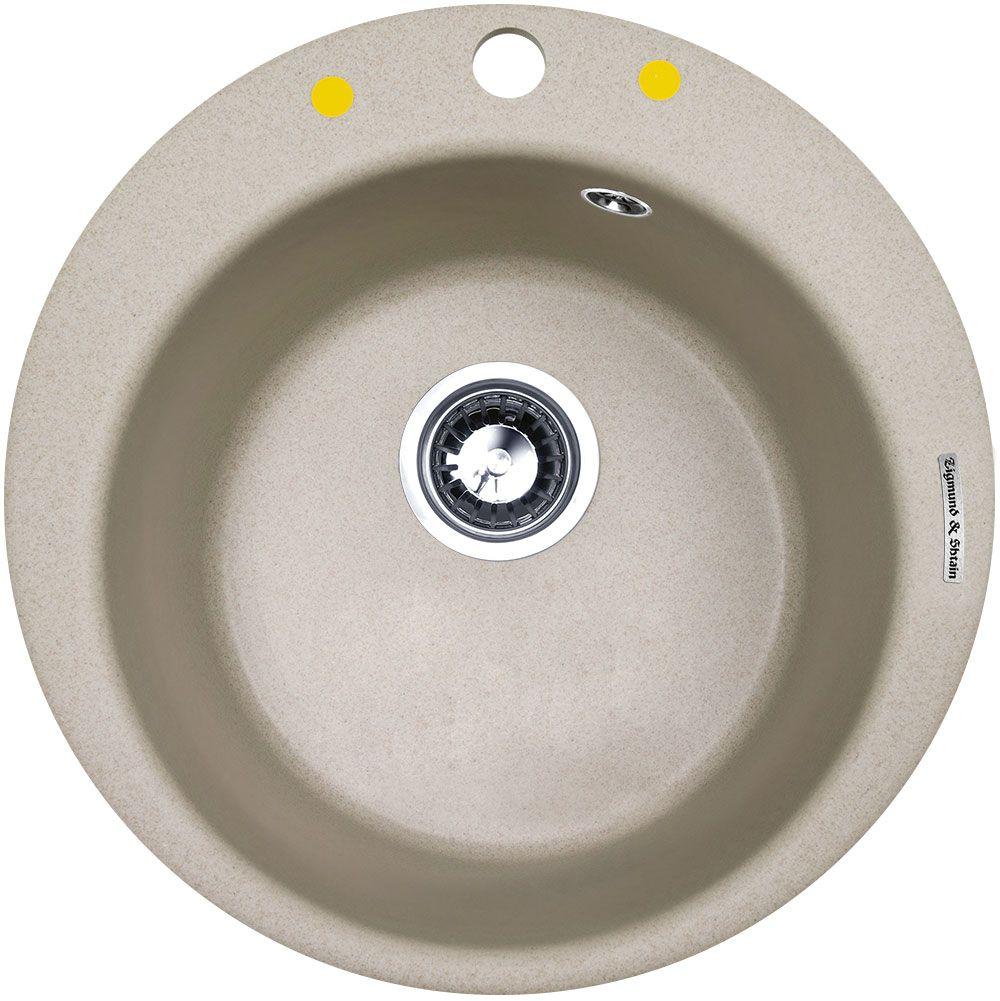 Мойка кухонная Zigmund & Shtain Kreis 480, врезная, 1 чаша, цвет: осенняя траваkreis480Zigmund & Shtain KREIS 480,кухонная мойка, иск.гранит, 1чаша, форма круглая, глубина -21 см, ЦВЕТ осенняя трава