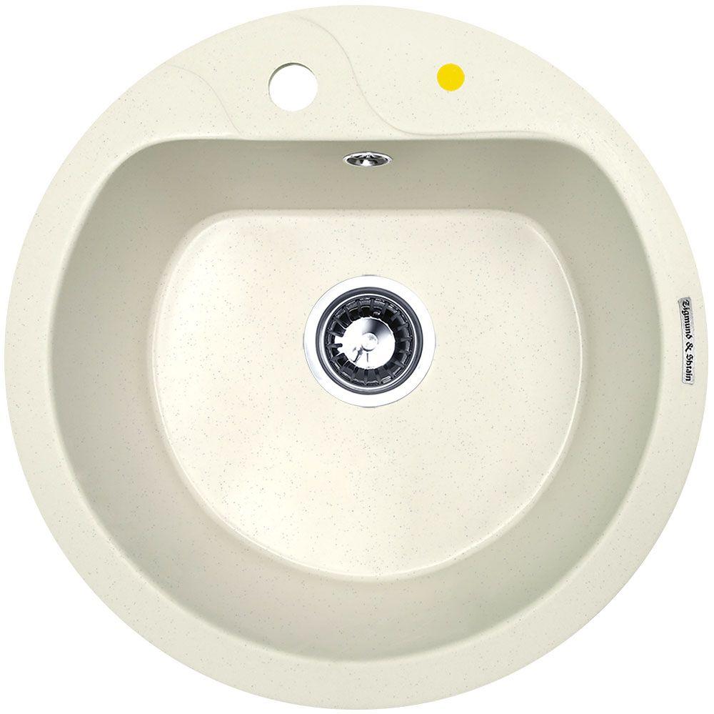 """Мойка для кухни """"Zigmund & Shtain"""" с врезной установкой выполнена из искусственного гранита круглой формы.  Врезная мойка монтируется в уже подогнанную под нее столешницу или тумбу. Своей верхней цельнометаллической кромкой она плотно прижимается к поверхности тумбы (столешницы).  Высокое качество гранитной мойки """"Zigmund & Shtain"""" прекрасно сочетается с компактными размерами и глубокой чашей для мытья посуды, что приятно наделяет ее широкими возможностями. Небольшая мойка правильной круглой формы, разработана специально для небольших кухонь, благодаря чему прекрасно вписывается в любой кухонный интерьер. Несмотря на минимальные внешние размеры, внутренняя чаша осталась весьма вместительной. Для монтажа в комплекте предусмотрены качественные крепежи и дополнительные элементы.  Общий размер: 50,5 х 50,5 см. Внутренний размер чаши: 42,5 х 36 см. Глубина чащи: 21 см. Ширина шкафа: 50 см."""