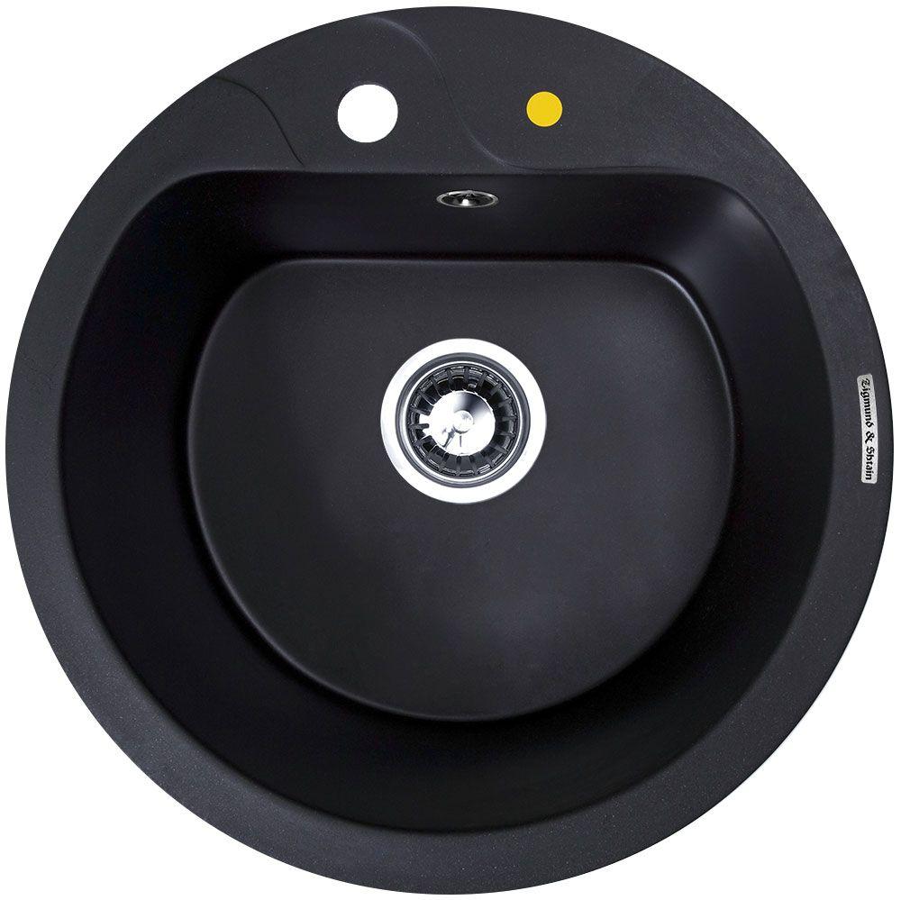 Мойка кухонная Zigmund & Shtain Kreis 505 F, врезная, 1 чаша, цвет: черный базальтkreis505fZigmund & Shtain KREIS 505 F, кухонная мойка, иск.гранит, 1чаша, форма круглая, глубина -21 см, ЦВЕТ черный базальт