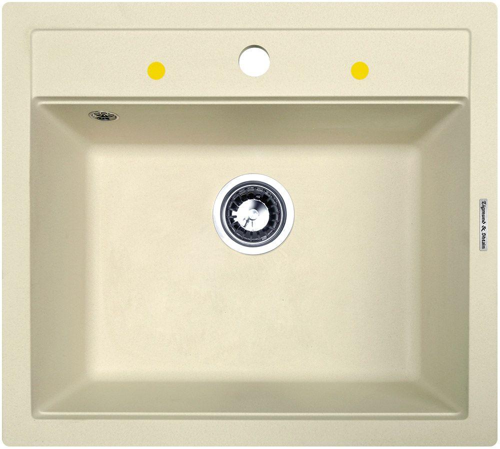 Zigmund & Shtain PLATZ 560, кухонная мойка, иск.гранит, 1чаша, форма-квадрат, глубина -21 см, ЦВЕТ молодое шампанское