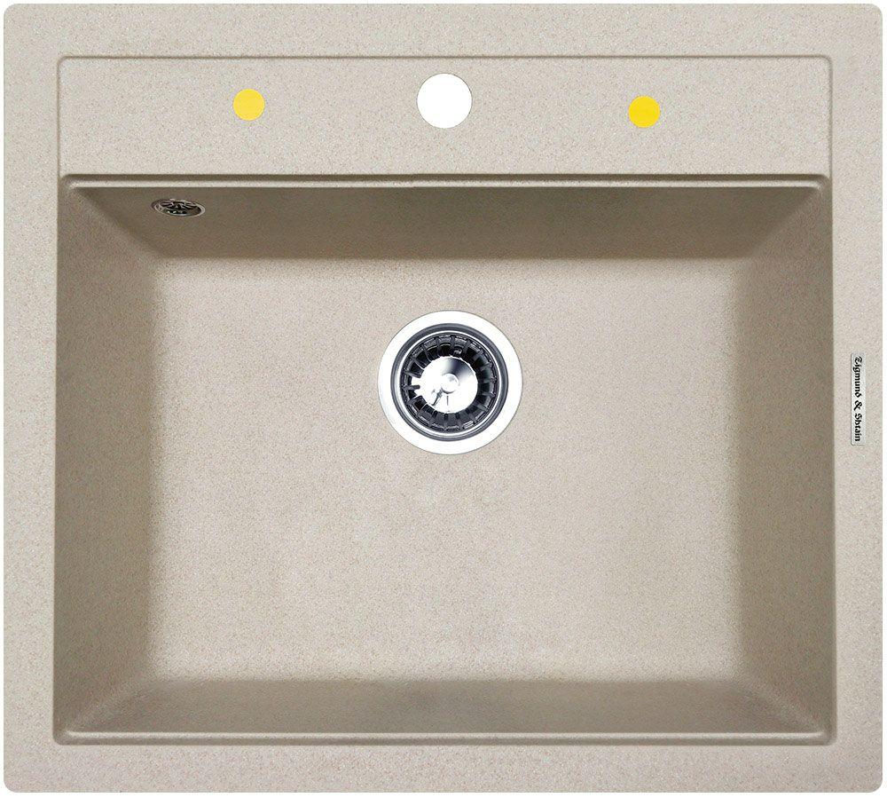 """Мойка для кухни """"Zigmund & Shtain"""" с врезной установкой выполнена из искусственного гранита квадратной формы.  Врезная мойка монтируется в уже подогнанную под нее столешницу или тумбу. Своей верхней цельнометаллической кромкой она плотно прижимается к поверхности тумбы (столешницы).  Немецкие мойки для кухни """"Zigmund & Shtain"""" отличаются высокой надежной и прочностью. В их основе лежит гранит, который стоек к разным механическим воздействиям и моющим средствам. Ухаживать за мойками также просто, как и устанавливать их.  Для монтажа в комплекте предусмотрены качественные крепежи и дополнительные элементы.  Общий размер: 56 х 50,5 см. Внутренний размер чаши: 49,5 х 36 см. Глубина чащи: 19,5 см. Ширина шкафа: 60 см."""