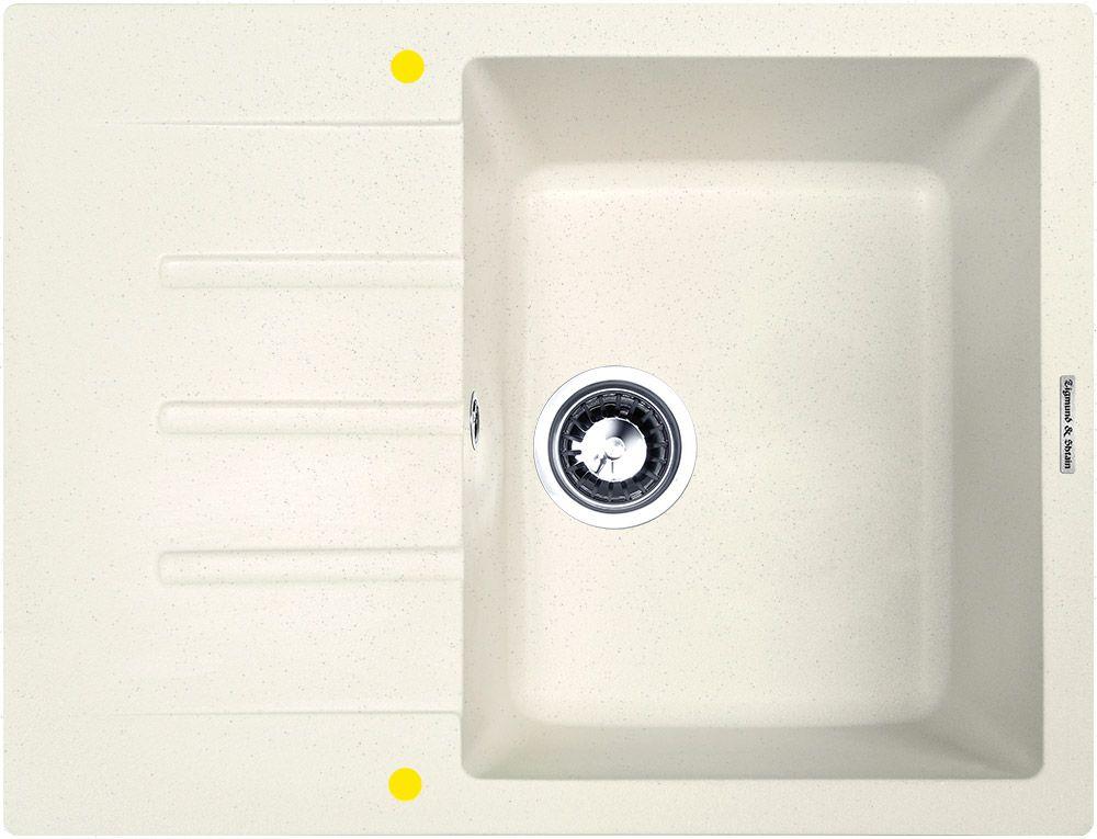 Zigmund & Shtain RECHTECK 645, кухонная мойка, иск.гранит, 1чаша-крыло, форма прямоугольная, глубина-21, Цвет каменная соль