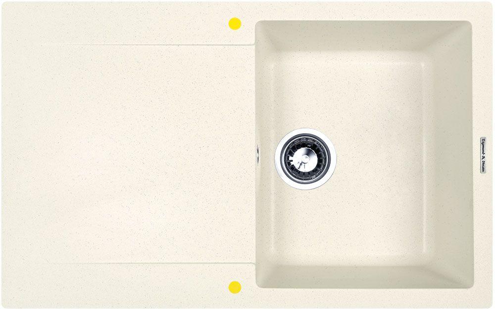 Мойка кухонная Zigmund & Shtain Rechteck 775, врезная, 1 чаша, крыло, цвет: каменная сольrechteck775Zigmund & Shtain RECHTECK 775, кухонная мойка, иск.гранит, 1чаша-крыло, форма прямоугольная, глубина-21, Цвет каменная соль