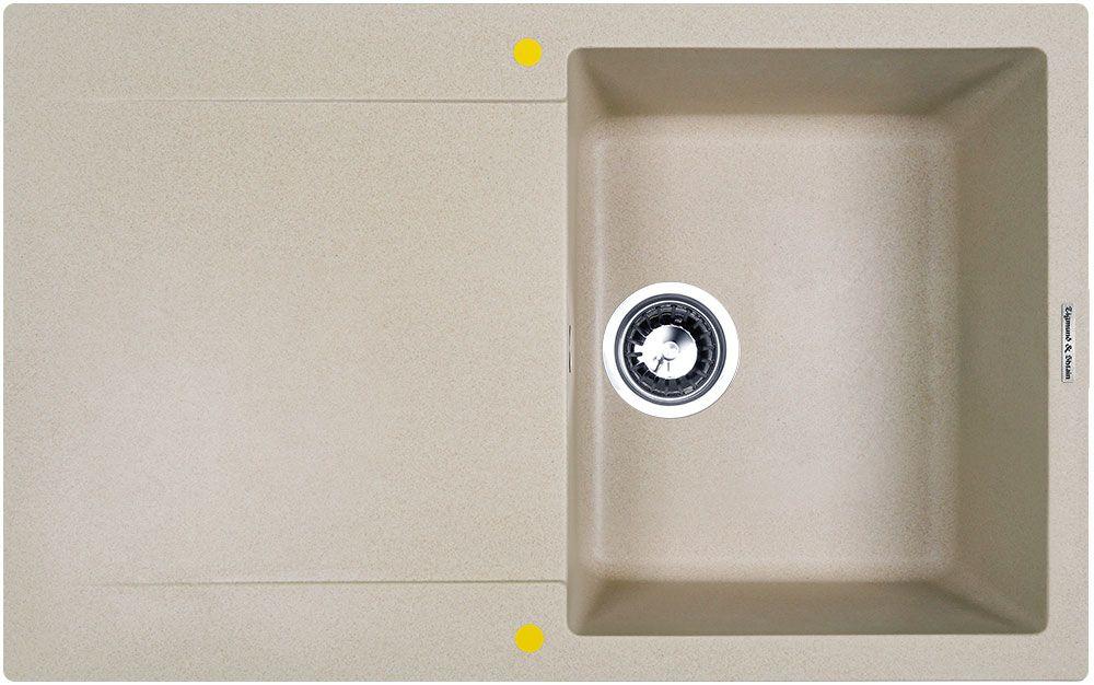 Zigmund & Shtain RECHTECK 775, кухонная мойка, иск.гранит, 1чаша-крыло, форма прямоугольная, глубина-21, Цвет осенняя трава