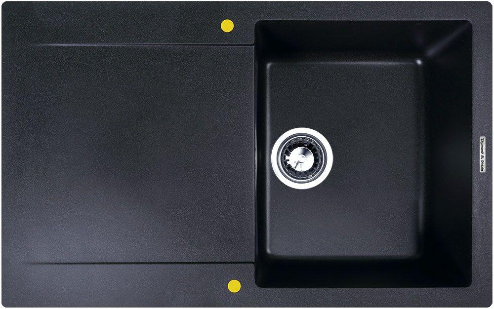Мойка кухонная Zigmund & Shtain Rechteck 775, врезная, 1 чаша, крыло, цвет: темная скалаrechteck775Zigmund & Shtain RECHTECK 775, кухонная мойка, иск.гранит, 1чаша-крыло, форма прямоугольная, глубина-21, Цвет темная скала
